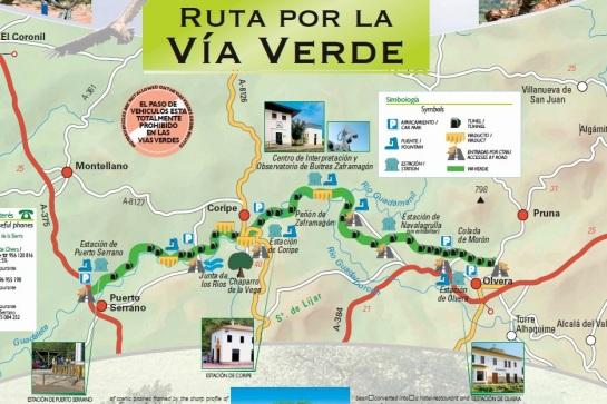 Olvera Coripe Puerto Serrano, map mtb route Via Verde.