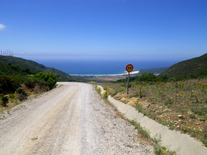 Down the hill to Punta Paloma. Private Property, close the gate!