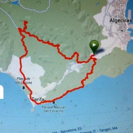 Map around Tarifa on mountainbike.