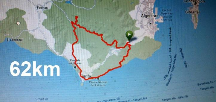 Map around Tarifa on mountainbike.