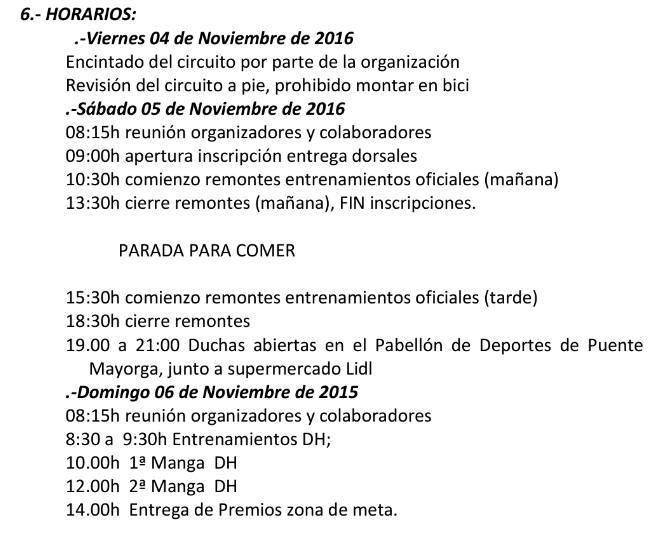 Programa y horarios DH Sierra Carbonera
