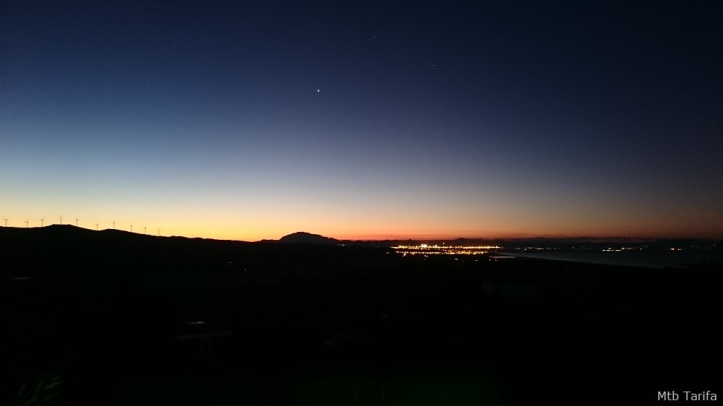 Early Sunrise ride, lights of Tarifa