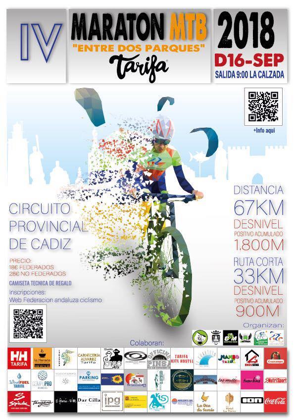 """IV Maraton MTB """"Entre 2 Parques Naturales"""" TARIFA 2018"""