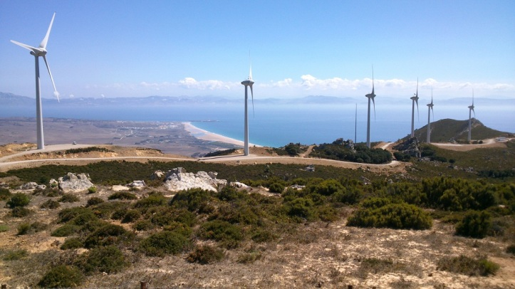 Enjow amazing views during the wind turbine mountainbike tours in Tarifa Spain